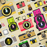 Retro Camera Pattern Art Print