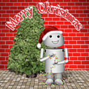 Robo-x9 Wishes A Merry Christmas Art Print