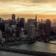 San Francisco City Skyline At Sunset Aerial Art Print