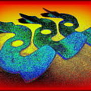 3 Serpents In The Sand  Art Print