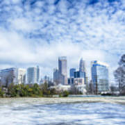 Snow And Ice Covered City And Streets Of Charlotte Nc Usa Art Print