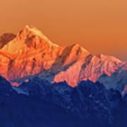 Sunrise On Mount Kanchenjugha At Dawn Sikkim Art Print