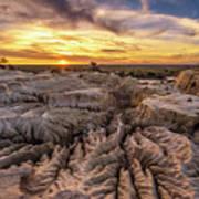 Sunset Over Walls Of China In Mungo National Park, Australia Art Print