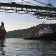 The New Tacoma Narrows Bridge - Crowley Tug Art Print