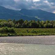 The River Rhine Between Liechtenstien And Switzerland Art Print
