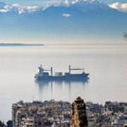 Thessaloniki With View Of Olympus Art Print