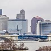 Toledo Ohio City Skyline And Bridges Around Downtown Art Print