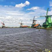 Traditional Dutch Windmills At Zaanse Schans, Amsterdam Art Print