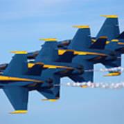 U S Navy Blue Angeles, Formation Flying, Smoke On Art Print