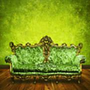 Victorian Sofa In Retro Room Art Print