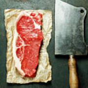 Vintage Cleaver And Raw Beef Steak Art Print