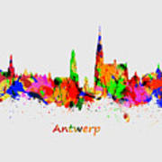 Watercolor Art Print Of The Skyline Of Antwerp In Belgium Art Print