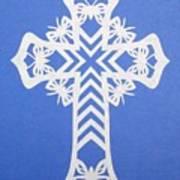 White Butterfly-cross Art Print