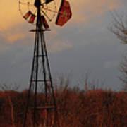 Windmill At Dusk Art Print