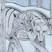3 Wolves Art Print