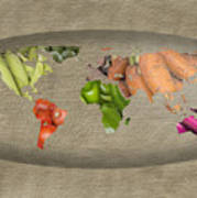 World Fruits Vegetables Map Art Print