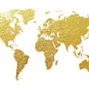 World Map Gold Foil Art Print