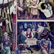 Wpa Mural. Society Freed Through Art Print