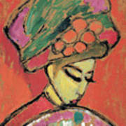 Young Girl With A Flowered Hat Art Print