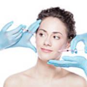 Young Woman Having Botox Face Injections. Art Print