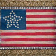 33 Star American Flag. Painting Of Antique Design Art Print