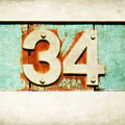 34 On Weathered Aqua Art Print