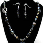3545 Black Cracked Agate Necklace And Earring Set Art Print