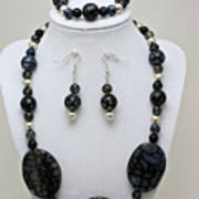 3548 Cracked Agate Necklace Bracelet And Earrings Set Art Print