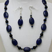 3555 Lapis Lazuli Necklace And Earring Set Art Print