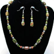 3565 Unakite Necklace And Earrings Set Art Print