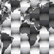3d Black And White World Map Composition Art Print