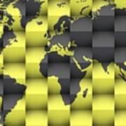 3d World Map Composition 4 Art Print