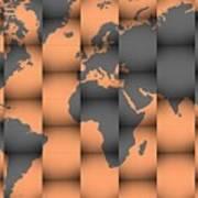3d World Map Composition Art Print