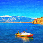 A Digitally Constructed Painting Of A Small Fishing Boat  With Snow Covered Mountains In Antalya Turkey Art Print
