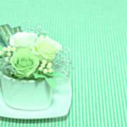 A Gift Of Preservrd Flower And Clay Flower Arrangement, White An Art Print