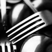 Abstract Black And White Forks Art Print