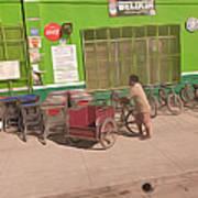 Belize - Green Market Bicycles Art Print