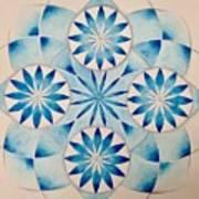 4 Blue Flowers Mandala Art Print