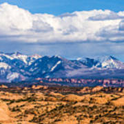 Canyon Badlands And Colorado Rockies Lanadscape Art Print