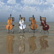 4 Cellos... - 4 Violoncelles... Art Print