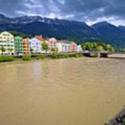 City Of Innsbruck Colorful Inn River Waterfront Panorama Art Print