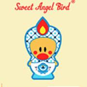Cute Art - Blue And White Flower Folk Art Sweet Angel Bird In A Nesting Doll Costume Wall Art Print Art Print