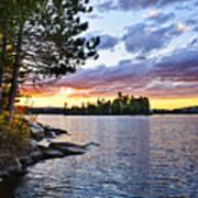 Dramatic Sunset At Lake Art Print