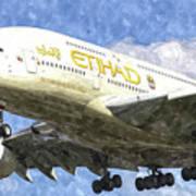 Etihad Airlines Airbus A380 Art Art Print