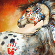 4 Feathers Indian War Pony Print by Marcia Baldwin