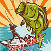 Fly Fisherman On Boat Catching Largemouth Bass Art Print