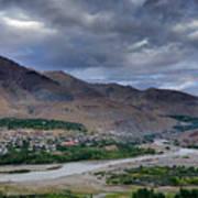 Indus River And Kargil City Leh Ladakh Jammu Kashmir India Art Print