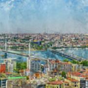 Istanbul Turkey Cityscape Digital Watercolor On Photograph Art Print