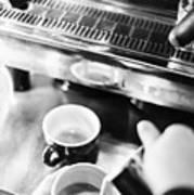 Italian Espresso Expresso Coffee Making Preparation With Machine Art Print