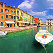 Lazise Colorful Harbor And Boats Panoramic View Art Print